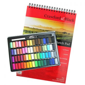 set of pastels and pad