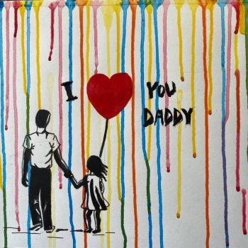 Banksy style father and daughter