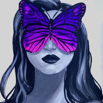 women with butterfly over her eyes