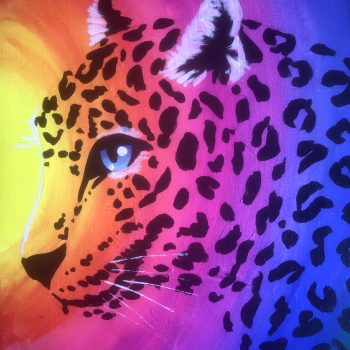 Rainbow leopard painting